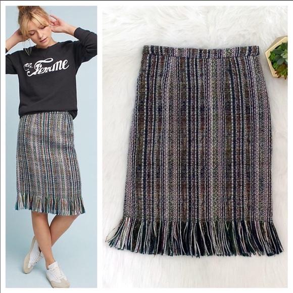 Maeve Dresses & Skirts - MAEVE Anthropologie Tweed Fringe Pencil Skirt